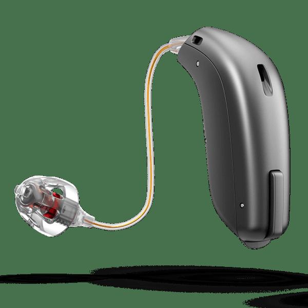 RIC-Hörgerät mit Fixierschirmchen